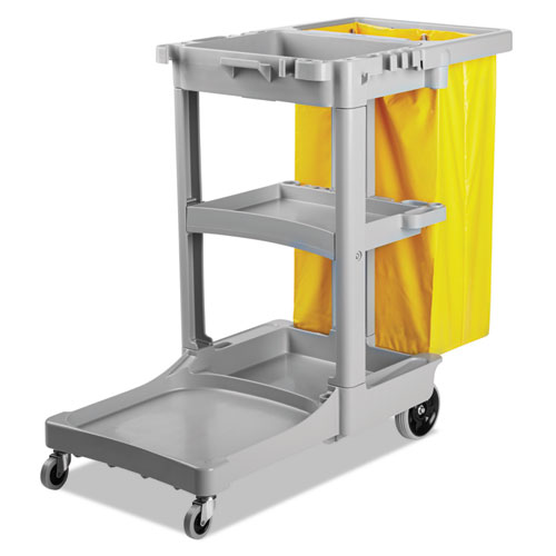 Janitor's Cart, Three-Shelf, 22w x 44d x 38h, Gray. Picture 3