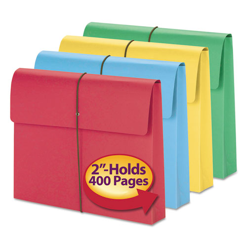 """Expanding Wallet w/ Elastic Cord, 2"""" Expansion, 1 Section, Letter Size, Assorted, 50/Box. Picture 3"""