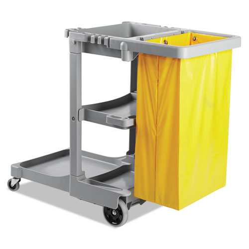Janitor's Cart, Three-Shelf, 22w x 44d x 38h, Gray. Picture 1