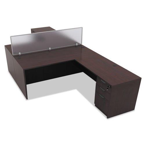 "Alera Valencia Series Straight Front Desk Shell, 65"" x 29.5"" x 29.63"", Mahogany. Picture 5"