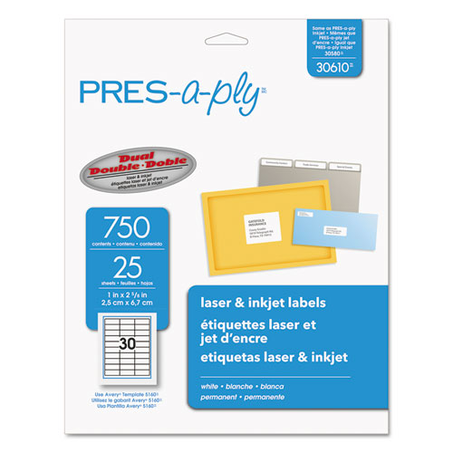 Labels, Laser Printers, 1 x 2.63, White, 30/Sheet, 25 Sheets/Pack. Picture 1