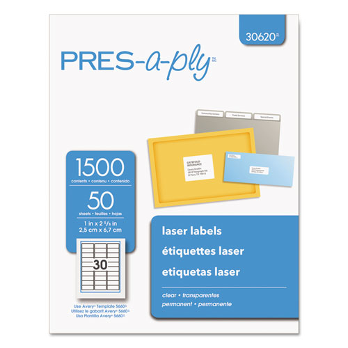 Labels, Laser Printers, 1 x 2.63, Clear, 30/Sheet, 50 Sheets/Box. Picture 1