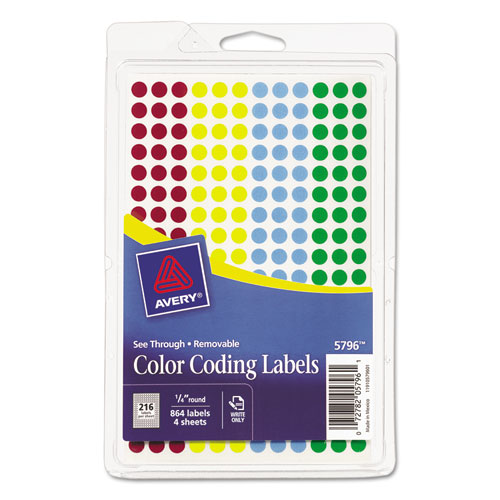 "Handwrite-Only Self-Adhesive ""See Through"" Removable Round Color Dots, 0.25"" dia., Assorted, 216/Sheet, 4 Sheets/Pack, (5796). Picture 1"