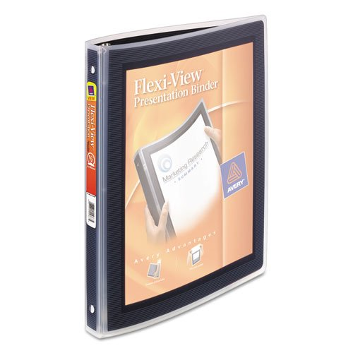 "Flexi-View Binder with Round Rings, 3 Rings, 0.5"" Capacity, 11 x 8.5, Black. Picture 5"