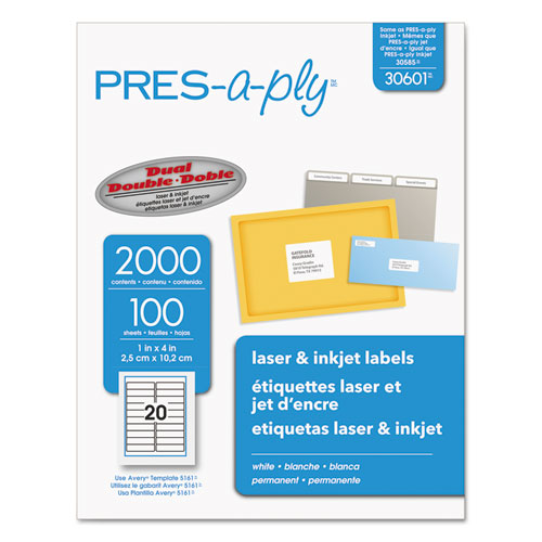 Labels, Laser Printers, 1 x 4, White, 20/Sheet, 100 Sheets/Box. Picture 1