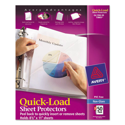 Quick Top and Side Loading Sheet Protectors, Letter, Non-Glare, 50/Box. Picture 1