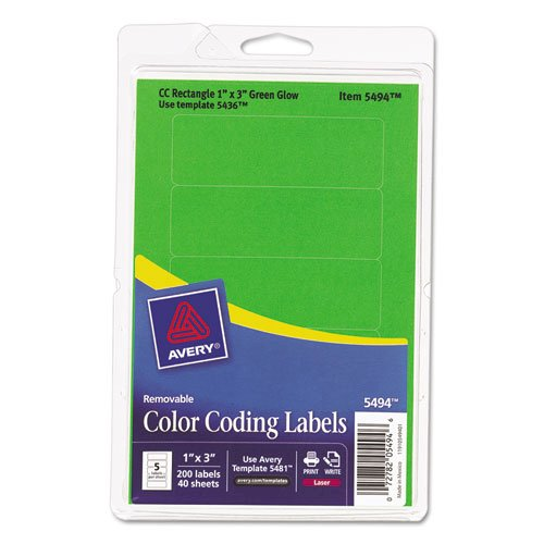 Printable Self-Adhesive Removable Color-Coding Labels, 1 x 3, Neon Green, 5/Sheet, 40 Sheets/Pack, (5494). Picture 1