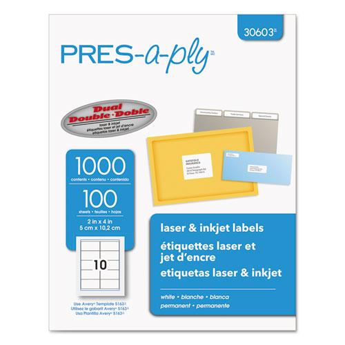 Labels, Laser Printers, 2 x 4, White, 10/Sheet, 100 Sheets/Box. Picture 1