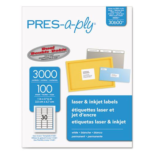 Labels, Laser Printers, 1 x 2.63, White, 30/Sheet, 100 Sheets/Box. Picture 1