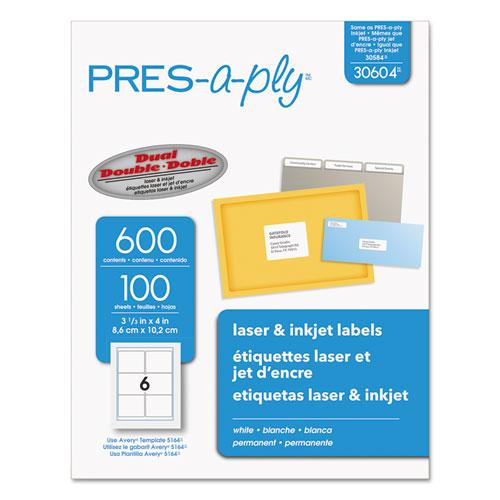 Labels, Laser Printers, 3.33 x 4, White, 6/Sheet, 100 Sheets/Box. Picture 1