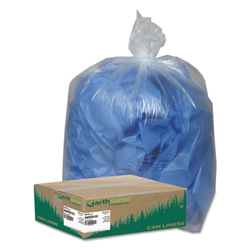"""Linear Low Density Clear Recycled Can Liners, 60 gal, 1.5 mil, 38"""" x 58"""", Clear, 100/Carton. Picture 1"""
