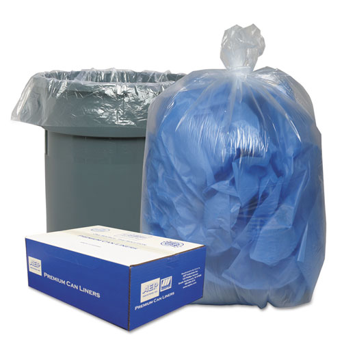 """Linear Low-Density Can Liners, 45 gal, 0.63 mil, 40"""" x 46"""", Clear, 250/Carton. Picture 1"""