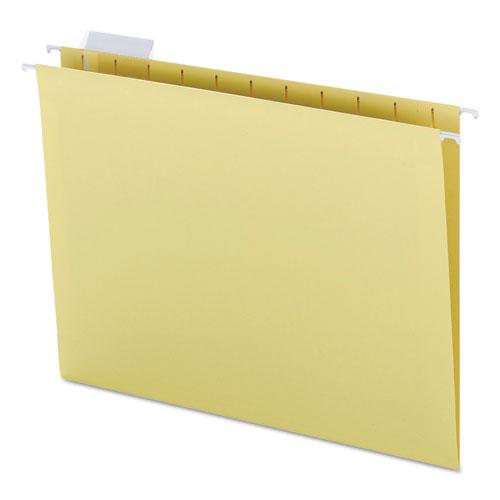 Colored Hanging File Folders, Letter Size, 1/5-Cut Tab, Yellow, 25/Box. Picture 2
