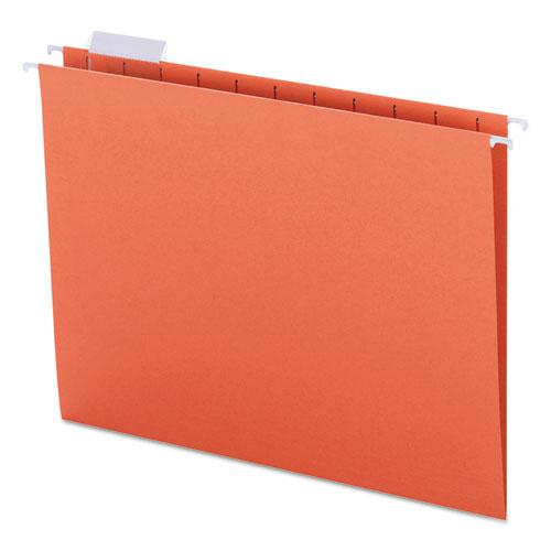Colored Hanging File Folders, Letter Size, 1/5-Cut Tab, Orange, 25/Box. Picture 1