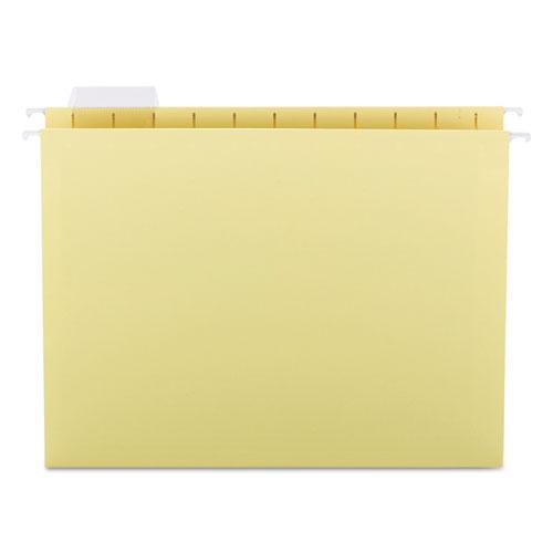 Colored Hanging File Folders, Letter Size, 1/5-Cut Tab, Yellow, 25/Box. Picture 1