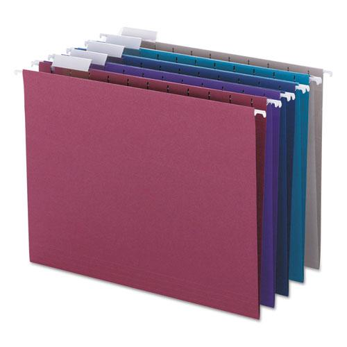 Colored Hanging File Folders, Letter Size, 1/5-Cut Tab, Assorted, 25/Box. Picture 1
