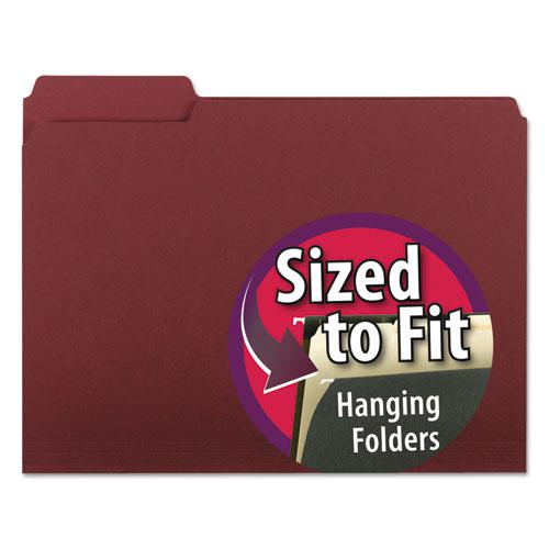 Interior File Folders, 1/3-Cut Tabs, Letter Size, Maroon, 100/Box. Picture 1