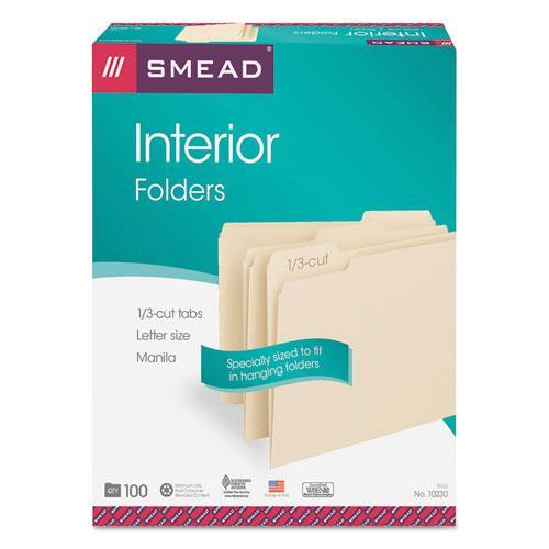 Interior File Folders, 1/3-Cut Tabs, Letter Size, Manila, 100/Box. Picture 4