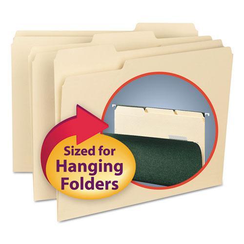 Interior File Folders, 1/3-Cut Tabs, Letter Size, Manila, 100/Box. Picture 1