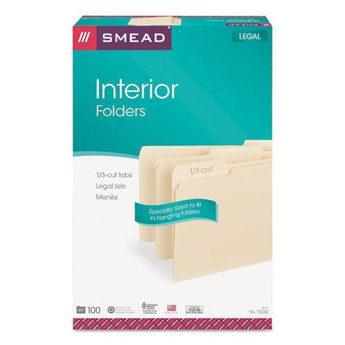 Interior File Folders, 1/3-Cut Tabs, Legal Size, Manila, 100/Box. Picture 4