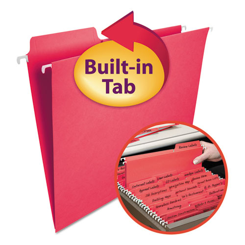 FasTab Hanging Folders, Letter Size, 1/3-Cut Tab, Red, 20/Box. Picture 1