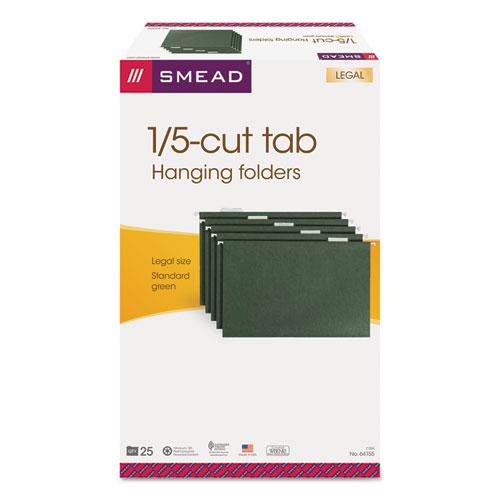 Hanging Folders, Legal Size, 1/5-Cut Tab, Standard Green, 25/Box. Picture 4