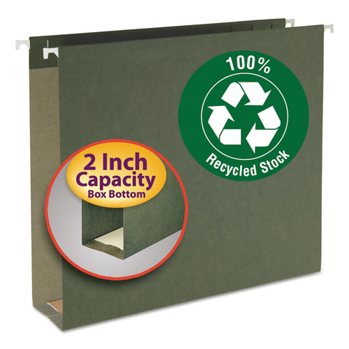 Box Bottom Hanging File Folders, Letter Size, Standard Green, 25/Box. Picture 1
