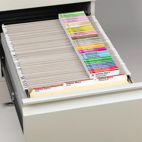 """Viewables Hanging Folder Tab and Label Bulk Pack Refill, 1/3-Cut Tabs, Assorted Colors, 3.5"""" Wide, 100/Box. Picture 2"""