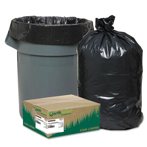 """Linear Low Density Recycled Can Liners, 60 gal, 1.25 mil, 38"""" x 58"""", Black, 100/Carton. Picture 1"""