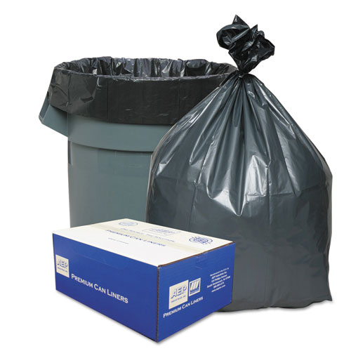 """Can Liners, 56 gal, 1.55 mil, 43"""" x 48"""", Gray, 50/Carton. Picture 1"""
