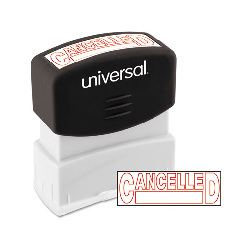 Message Stamp, CANCELLED, Pre-Inked One-Color, Red. Picture 1