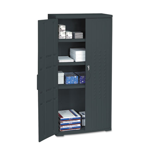 """OFFICEWORKS 66"""" STORAGE CABINET, Black. Picture 2"""