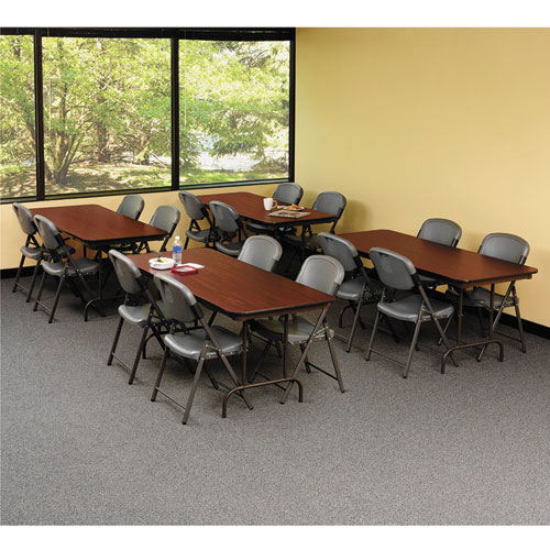 "Iceberg Premium Wood-Laminate Folding Table, 30"" x 72"", Mahogany. Picture 3"