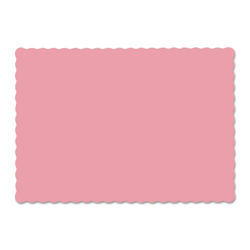 Solid Color Scalloped Edge Placemats, 9.5 x 13.5, Dusty Rose, 1000/Carton. Picture 1