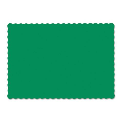 Solid Color Scalloped Edge Placemats, 9.5 x 13.5, Jade, 1,000/Carton. Picture 1