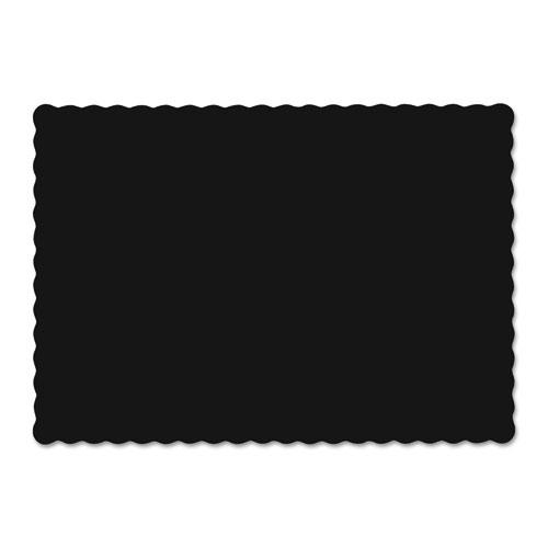 Solid Color Scalloped Edge Placemats, 9.5 x 13.5, Black, 1000/Carton. Picture 1