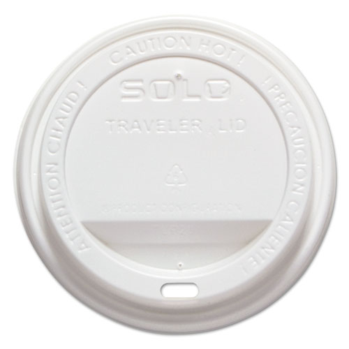Traveler Drink-Thru Lid, Fits 12-16 oz Cups, White, 1000/Carton. Picture 1