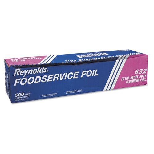 "Extra Heavy-Duty Aluminum Foil Roll, 18"" x 500 ft, Silver. Picture 2"