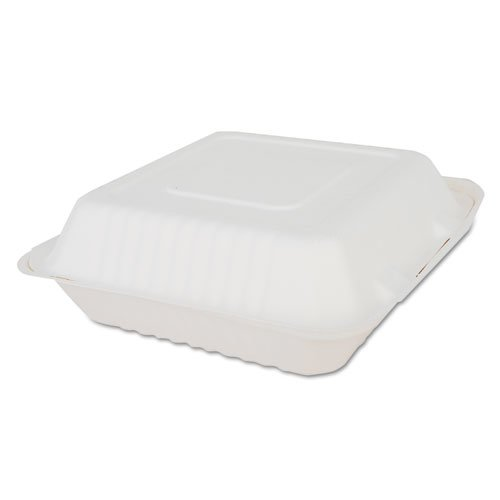 ChampWare Molded-Fiber Clamshell Containers, 9 x 9 x 3, White, 200/Carton. Picture 1