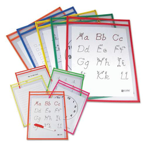 Reusable Dry Erase Pockets, 9 x 12, Assorted Primary Colors, 10/Pack. Picture 2