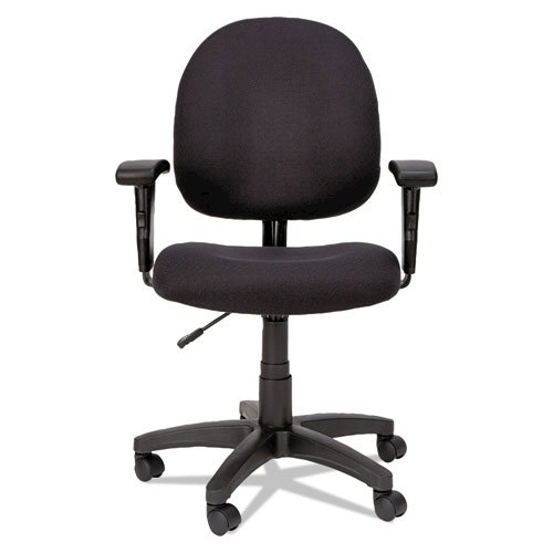 Alera Essentia Series Swivel Task Chair with Adjustable Arms, Supports up to 275 lbs, Black Seat/Black Back, Black Base. Picture 6