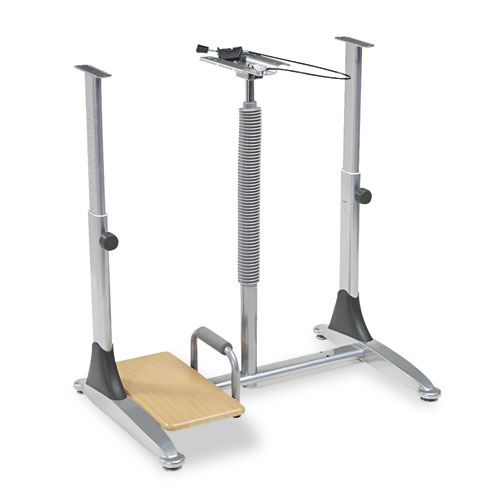 Ergo Sit-Stand Workstation, 41w x 29d x 29-39h, Teak/Silver, Base (Box Two). Picture 1