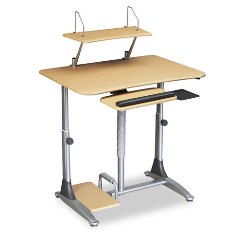 Ergo Sit-Stand Workstation, 41w x 29d x 29-39h, Teak/Silver, Base (Box Two). Picture 2