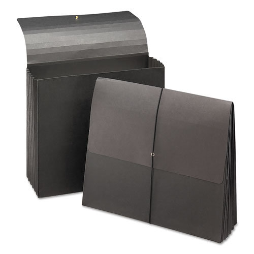 """Extra-Wide Expanding Wallets w/ Elastic Cord, 5.25"""" Expansion, 1 Section, Letter Size, Black, 10/Box. Picture 2"""