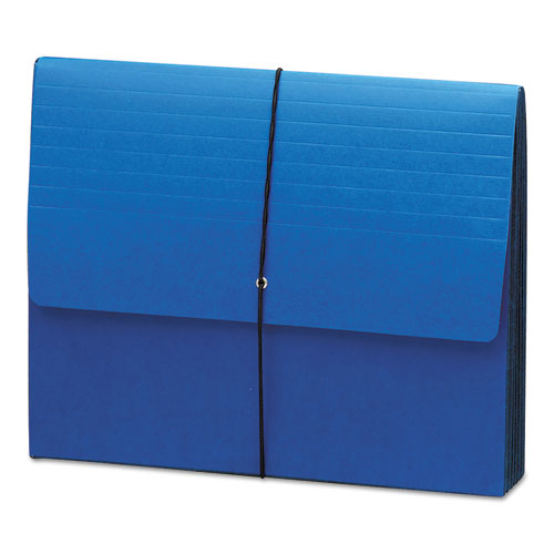 """Extra-Wide Expanding Wallets w/ Elastic Cord, 5.25"""" Expansion, 1 Section, Letter Size, Navy Blue. Picture 1"""