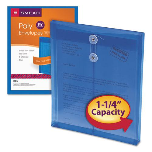 Poly String and Button Interoffice Envelopes, String and Button Closure, 9.75 x 11.63, Transparent Blue, 5/Pack. Picture 2