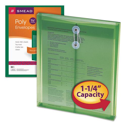 Poly String and Button Interoffice Envelopes, String and Button Closure, 9.75 x 11.63, Transparent Green, 5/Pack. Picture 3