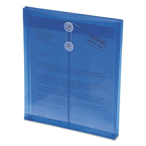 Poly String and Button Interoffice Envelopes, String and Button Closure, 9.75 x 11.63, Transparent Blue, 5/Pack. Picture 4