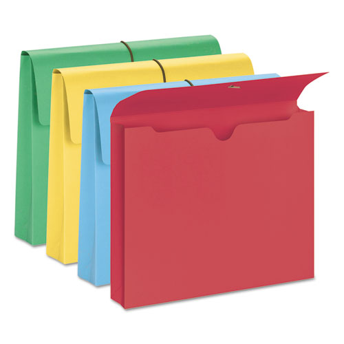 """Expanding Wallet w/ Elastic Cord, 2"""" Expansion, 1 Section, Letter Size, Assorted, 50/Box. Picture 2"""