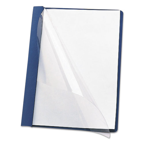 """Poly Report Cover, Tang Clip, Letter, 1/2"""" Capacity, Clear/Dark Blue, 25/Box. Picture 4"""